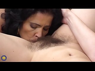 Naughty housewife licking another housewife S hairy pussy
