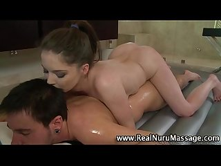 Naughty masseuse sucks fetish client