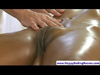 Busty ebony massage babe fingered by her masseur