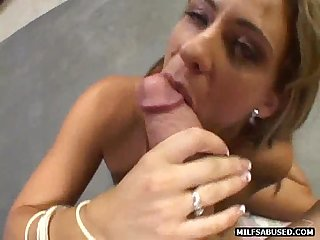 She is A sexy blonde milf who is sucking on A massive cock