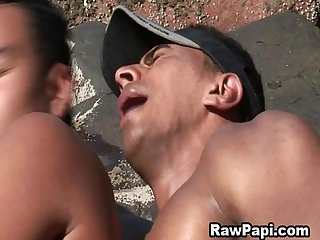 Gay Latino men wet and wild bareback sex