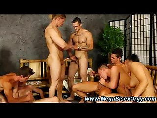 Bi stud rides cock in hot group