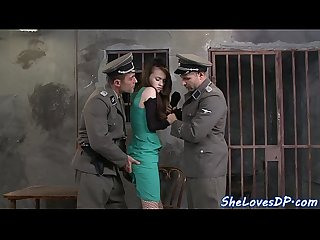 European babe pounded in threeway