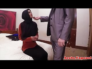 Veiled arab beauty rides cock for cash