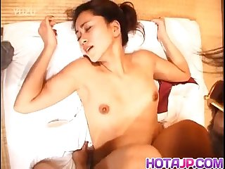 Japanese milf with mask on eyes has cunt strongly fucked