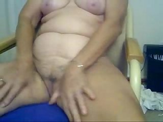 Horny granny fingering in front of cam amateur older