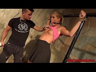 Spreadeagled bondage sub toyed by maledom
