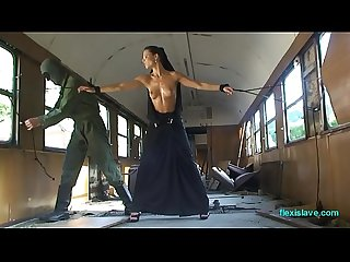 Bdsm model alex zothberg nude comma oiled comma captive and whipped in train