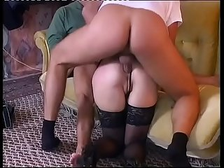 Hot redhead slut slammed by two guys in a little orgy