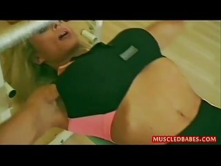 Healthy workout for blonde fitness milf