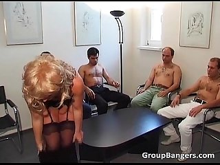 Amateur gang bang party with some mature