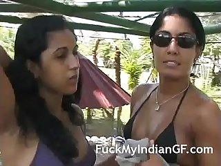 Indian lesbian girlfriend outdoor kissing