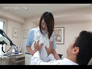 Japanese chesty nurse seducing the doctor at work