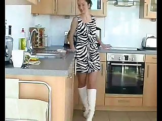 Hairy cheating wife rubbing her pussy in the kitchen