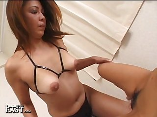Uncensored Japanese Girl-Girl Strap-on Dildo Sex