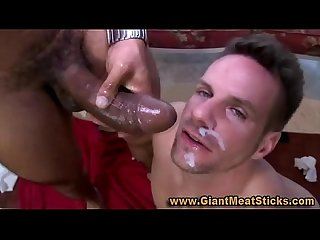 Gay big black cock interracial ass fuck and facial