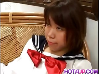 Ai Kazumi in school uniform sucks cock and gets banana in pussy - More at javhd.net