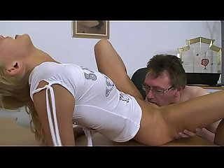 Cute blondie fucked on the office desk by mature man!