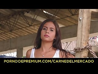 CARNE DEL MERCADO - Colombian teen bimbo Evelin Suarez fucks large cock