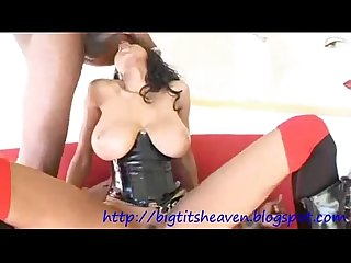 Big titted ebony loves to suck and fuck