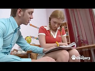 Young russian teen gets ass fucked by her study buddy