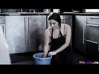 Poor European housemaid Valentina Nappi ordered to wipe a cock clean with her mouth!