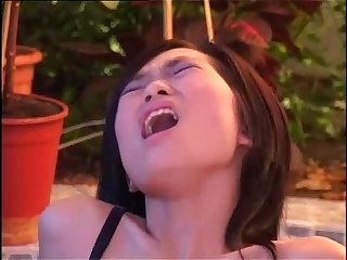 Asian girl tasting A big black cock