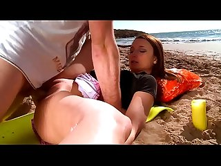 Redhead teen suck N dick at the beach