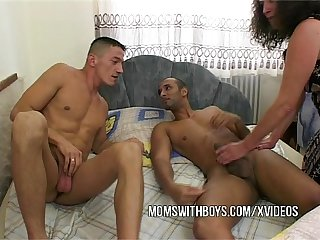 Old slut fucks two naked boys