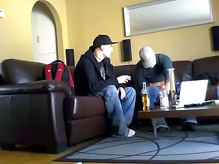 Straight Thug bi curious caught on hidden cam lets me jerk him off