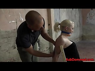 Gagged blonde bdsm sub toyed by maledom