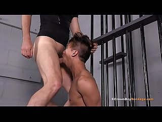 Asian twink levy foxx chokes on big cock and is fucked hard deep throat bdsm gay bondage whipping dr