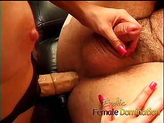 Submissive husband gets a blowjob before a nice hardcore pegging-6