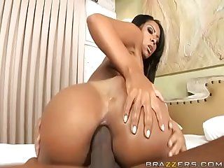 Big booty brazilian rides a big cock in her ass
