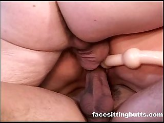 Hardcore English milf fucking two hard dicks