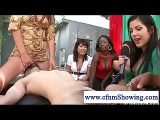 Cfnm girls sits on guys face in front of friends