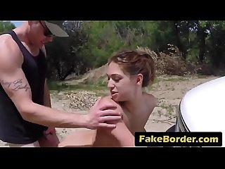 A horny border agent fucks hot young Latina's throat and tight pussy
