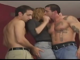 Horny and hot hooker can be fucked by three men in all holes