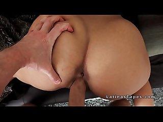 Big fake tits latina babe fucks big cock
