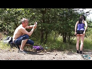 Huge creampie for cheated photo model in Nature with big cock