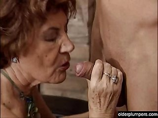 Granny seducing horny guy.