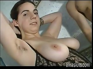 Cute young and busty amateur girl fucked by two
