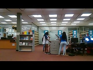 Sexy booty girl in the library with her legs open