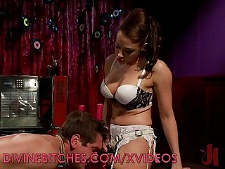 Hot dominatrix loves riding Nerd cock