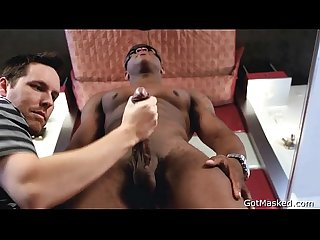 Black hunk gets his massive dick stroked 2 by gotmasked