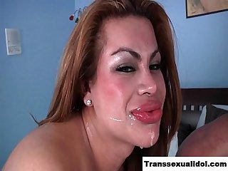 TS Angela Bratz butt fucked and facialed