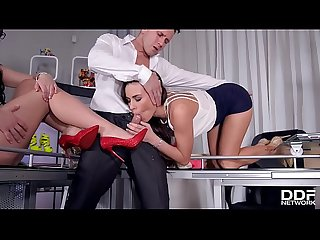 Shoe fetish fucking action at the office makes Mea Melone & Wendy Moon cum