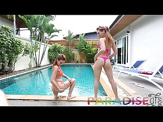 Paradise Gfs - Cock sucked poolside by set of twin sluts