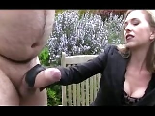 Chubby guy with big cock getting a handjob bdsm