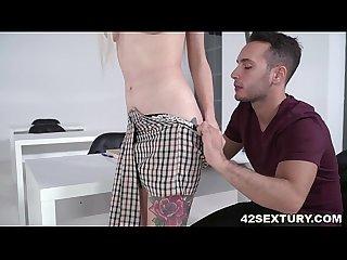 Busty blonde arteya deepthroats A dick